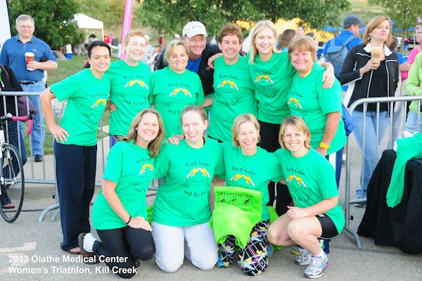 Group of ladies in green shirts at 2013 Women's Triathlon