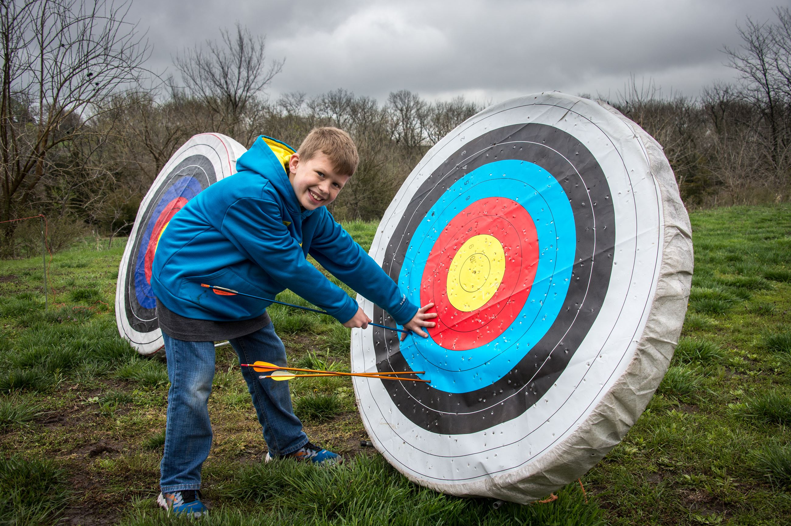 Participant at archery target